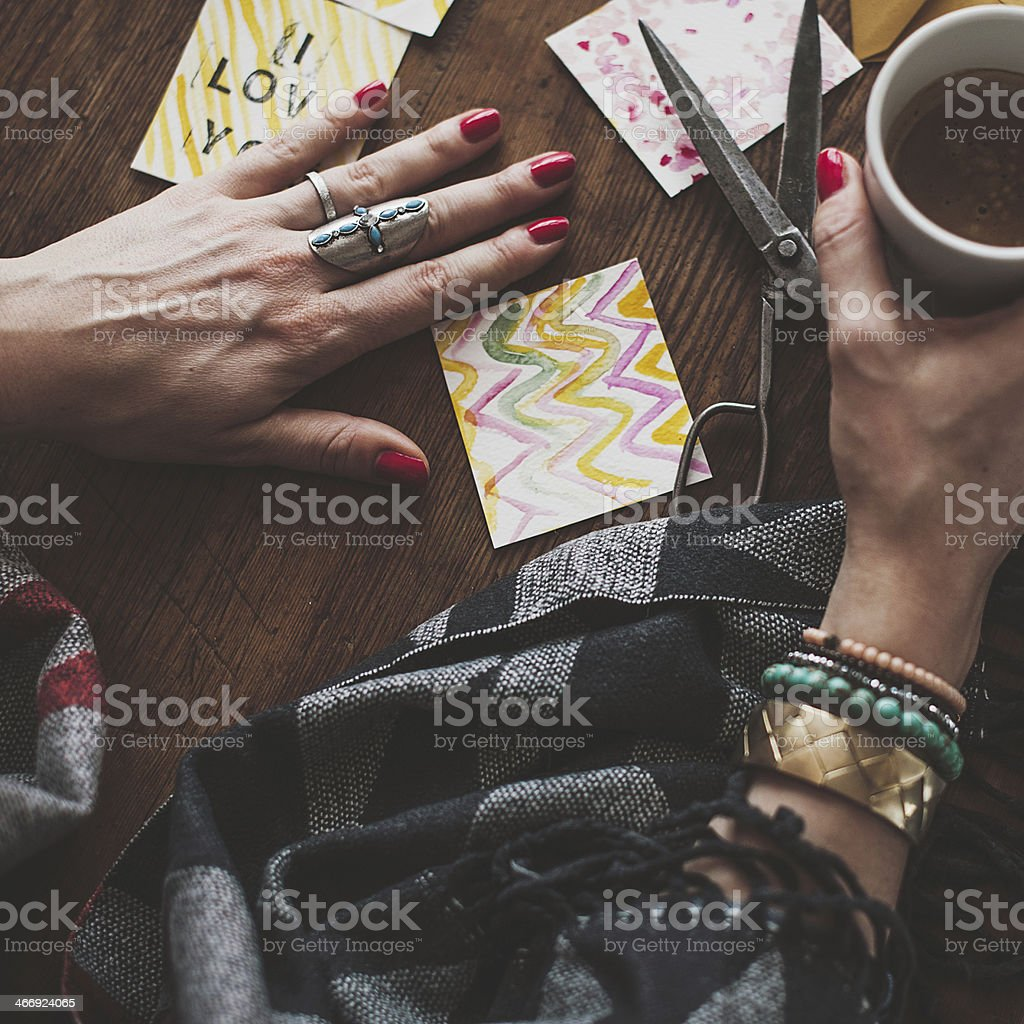 Woman making love letter royalty-free stock photo