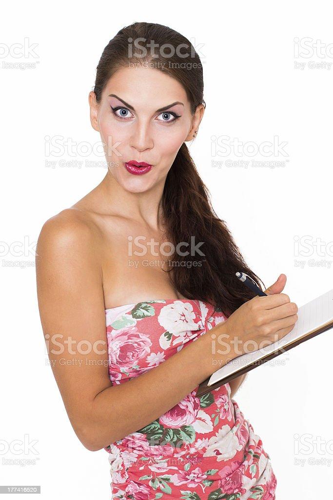 Woman making notes royalty-free stock photo