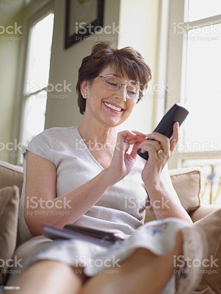 Woman making telephone call stock photo