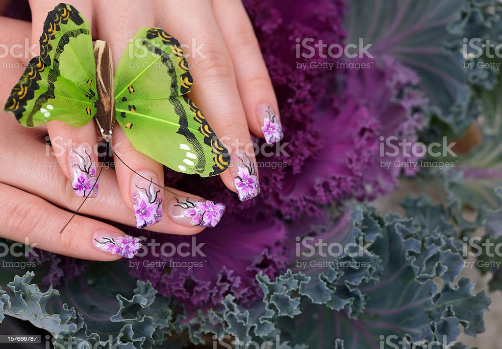woman manicure and butterfly royalty-free stock photo