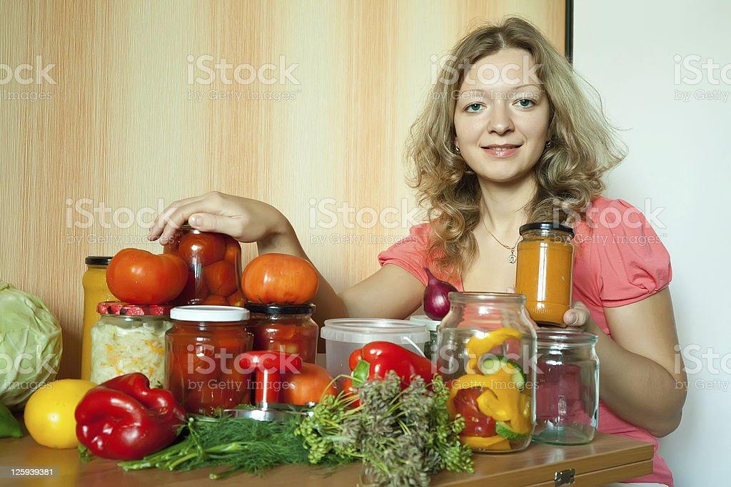 Woman marinating vegetables royalty-free stock photo