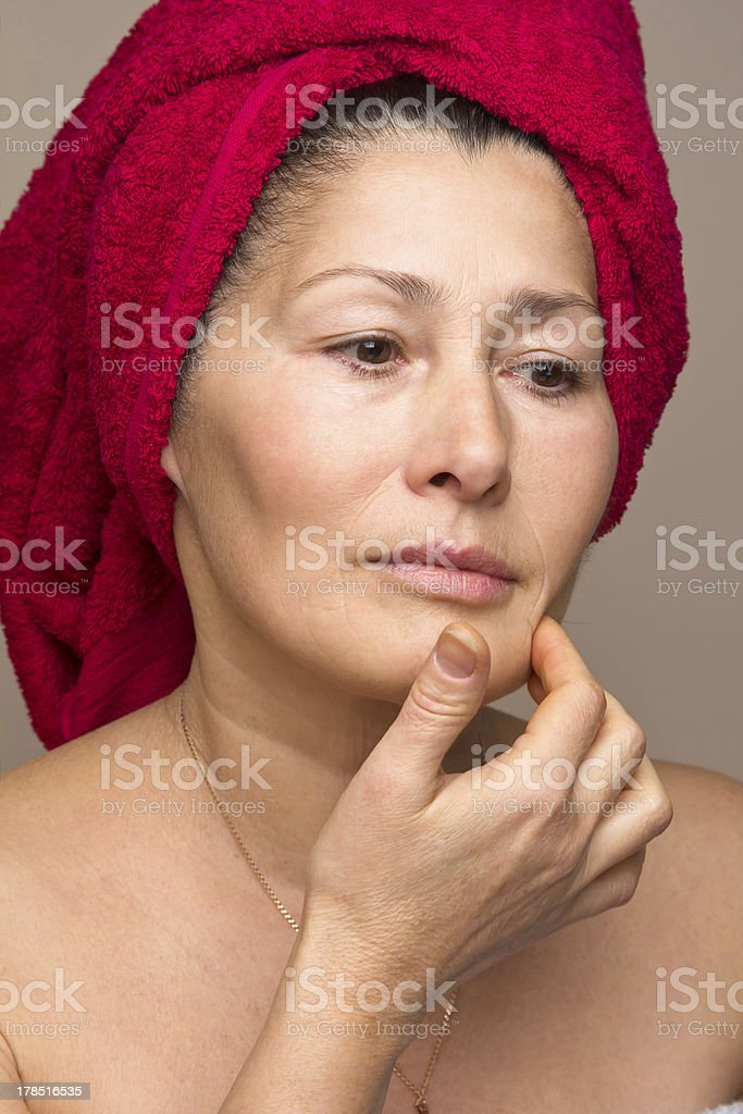 Woman mask on her face. royalty-free stock photo