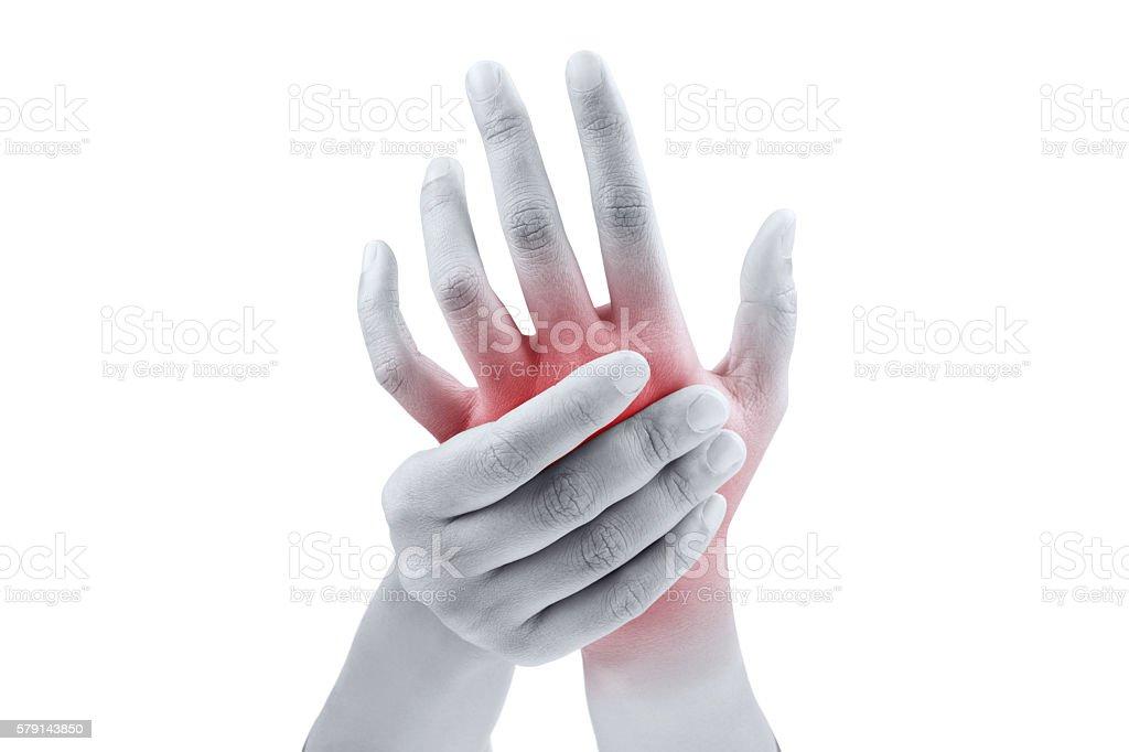 Woman massaging her painful hand stock photo