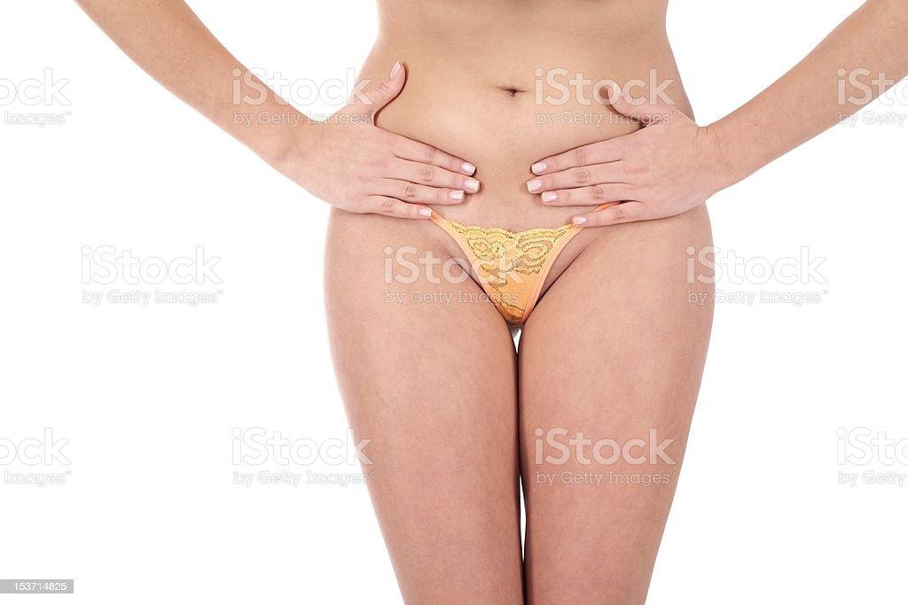 Femme masser des douleurs à l'estomac photo libre de droits