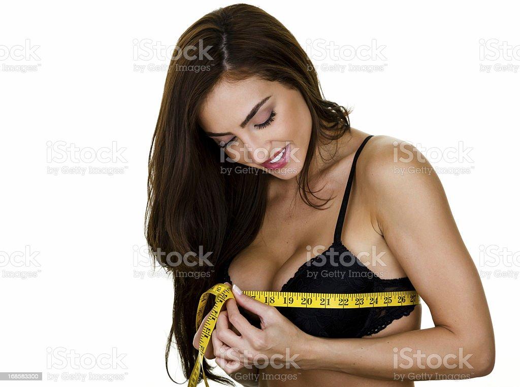 Woman measuring stock photo