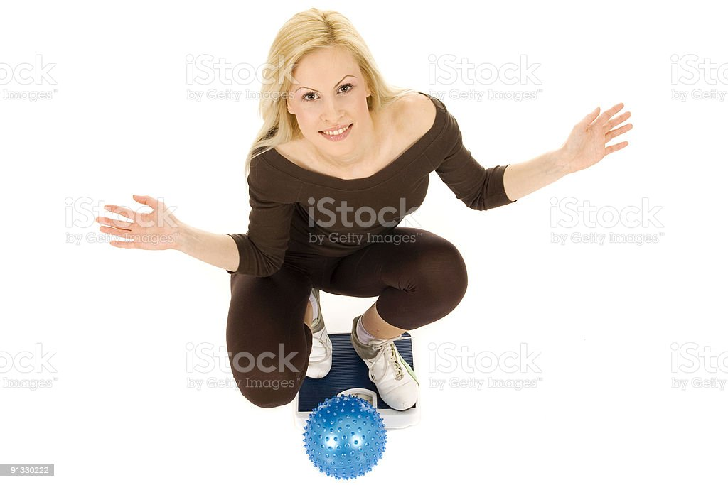 Woman measuring weight royalty-free stock photo
