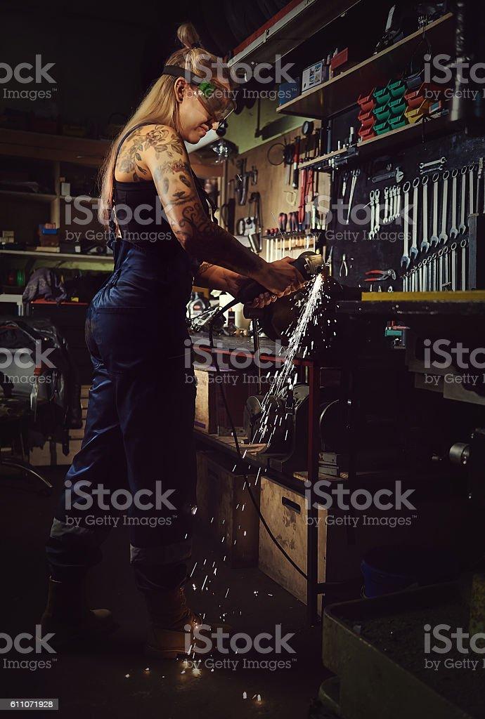 Woman mechanic stock photo