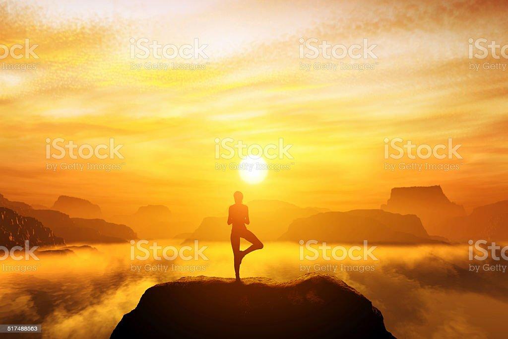 Woman meditating in tree yoga position stock photo
