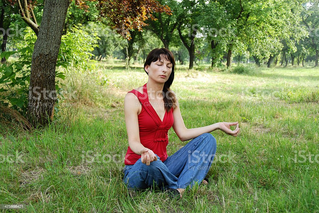 Woman meditation royalty-free stock photo