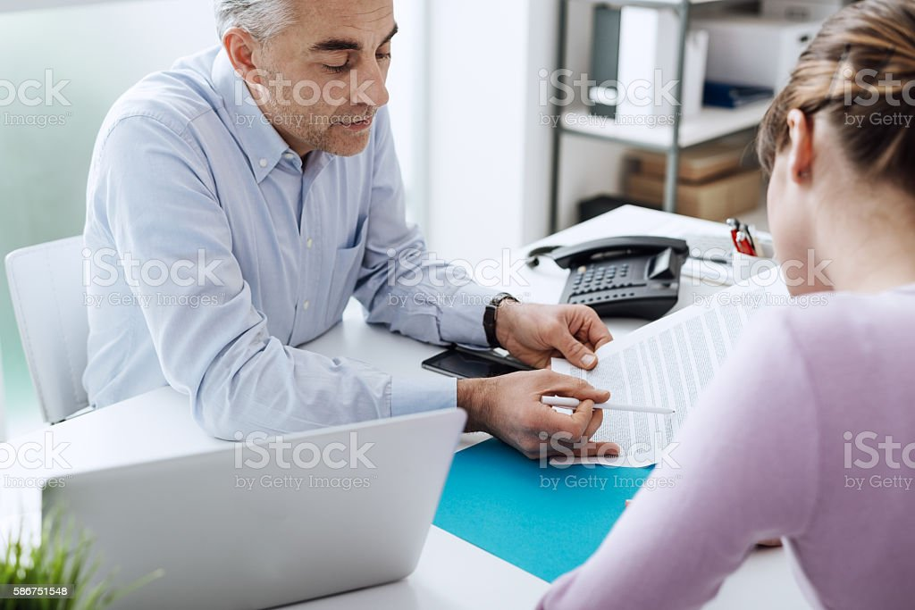 Woman meeting a consultant stock photo