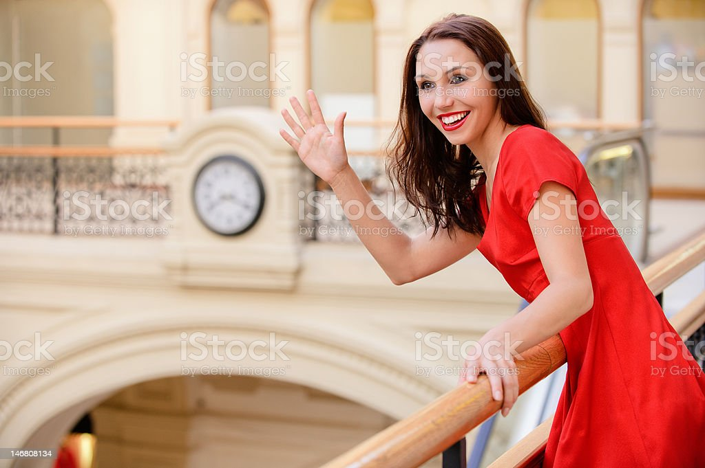 Woman meets friend royalty-free stock photo