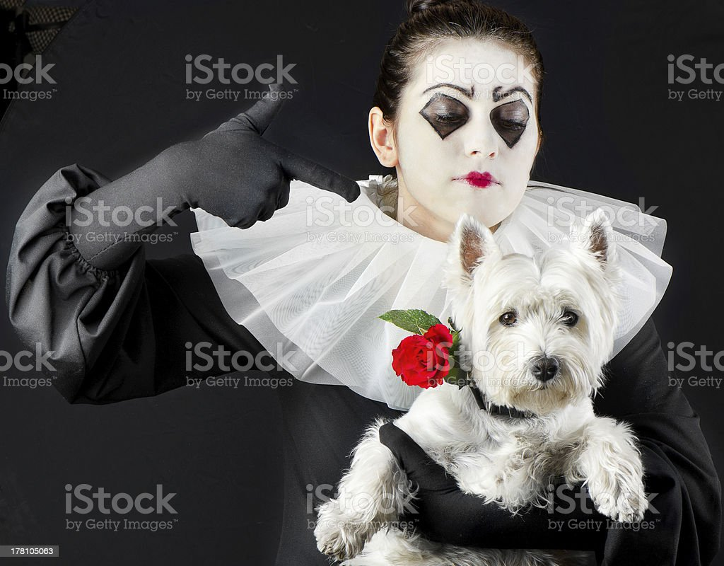 woman mime with little dog stock photo