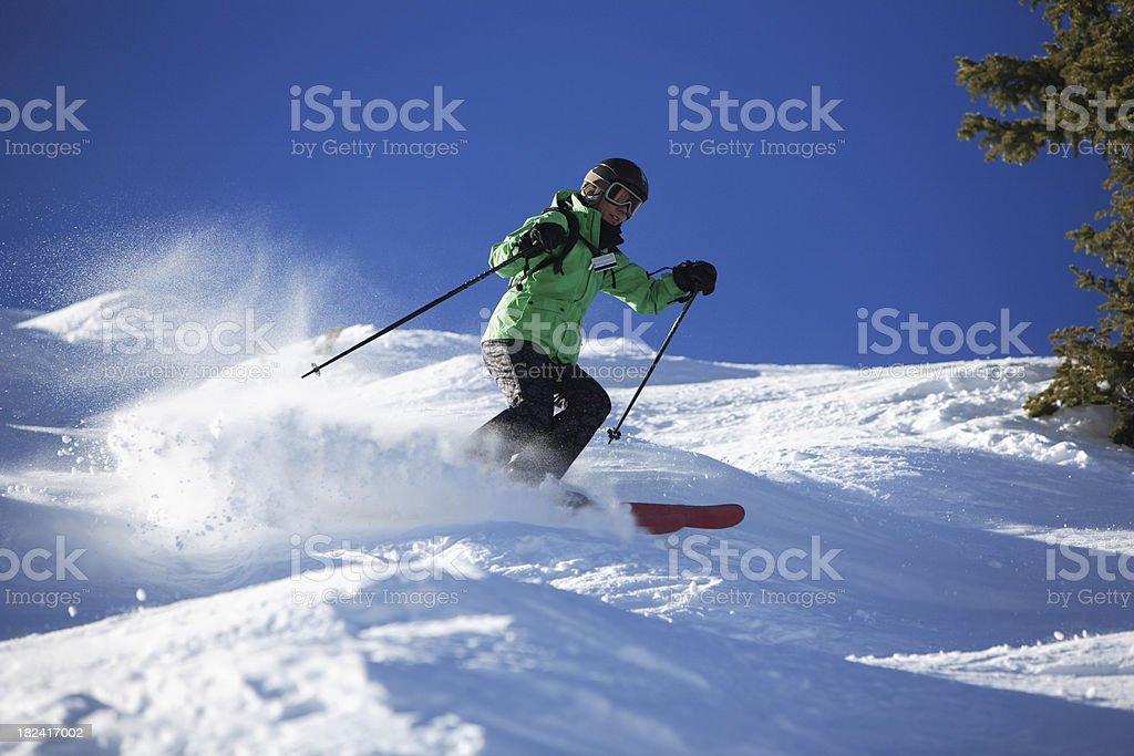 woman mogul skier stock photo