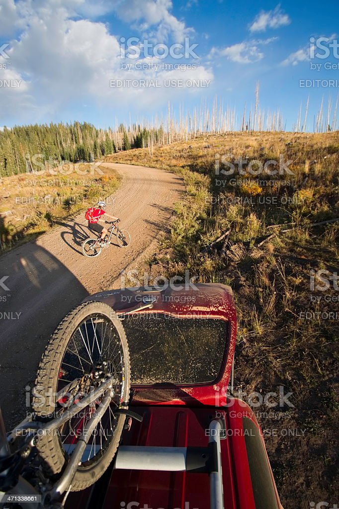 woman mountain biking royalty-free stock photo