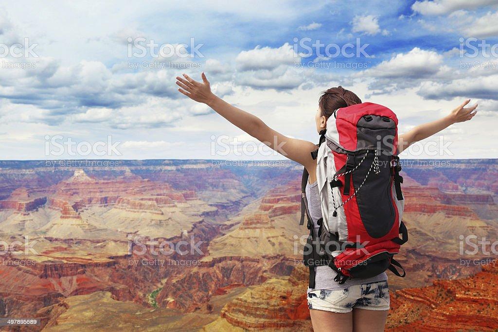woman mountain hiker in grand canyon stock photo