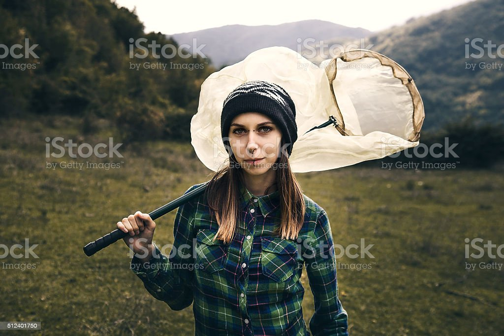 Woman mountain Hiker stock photo