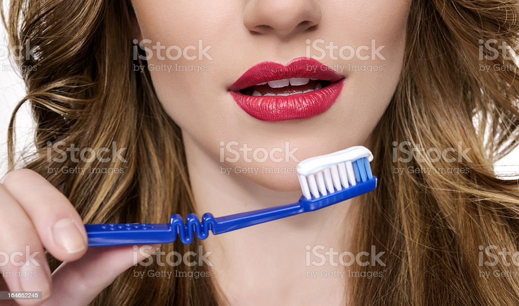 woman mouth and toothbrush royalty-free stock photo