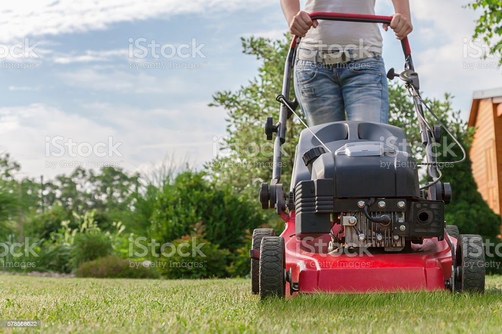 Woman mowing the lawn of her garden stock photo