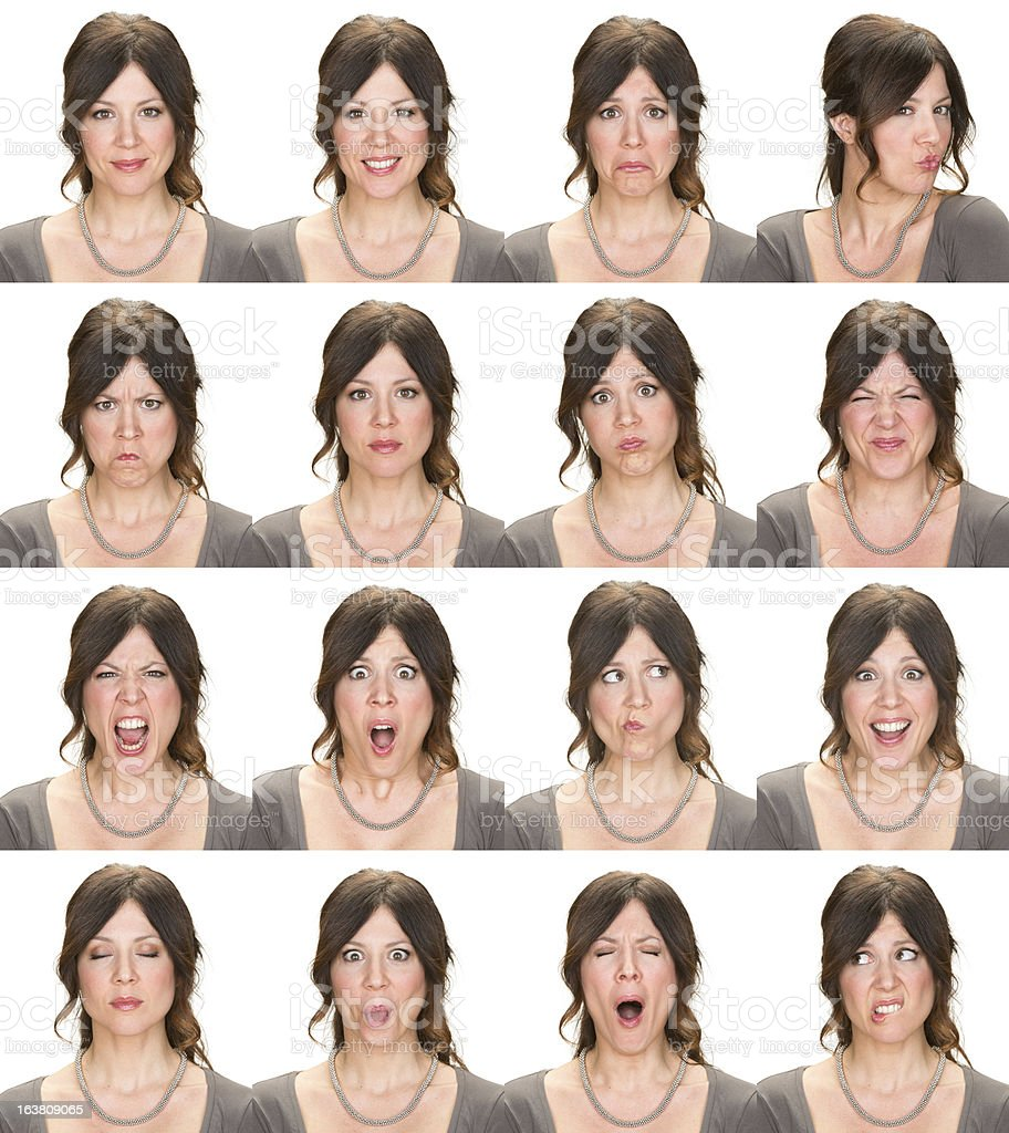 Woman multiple expression image on white background stock photo