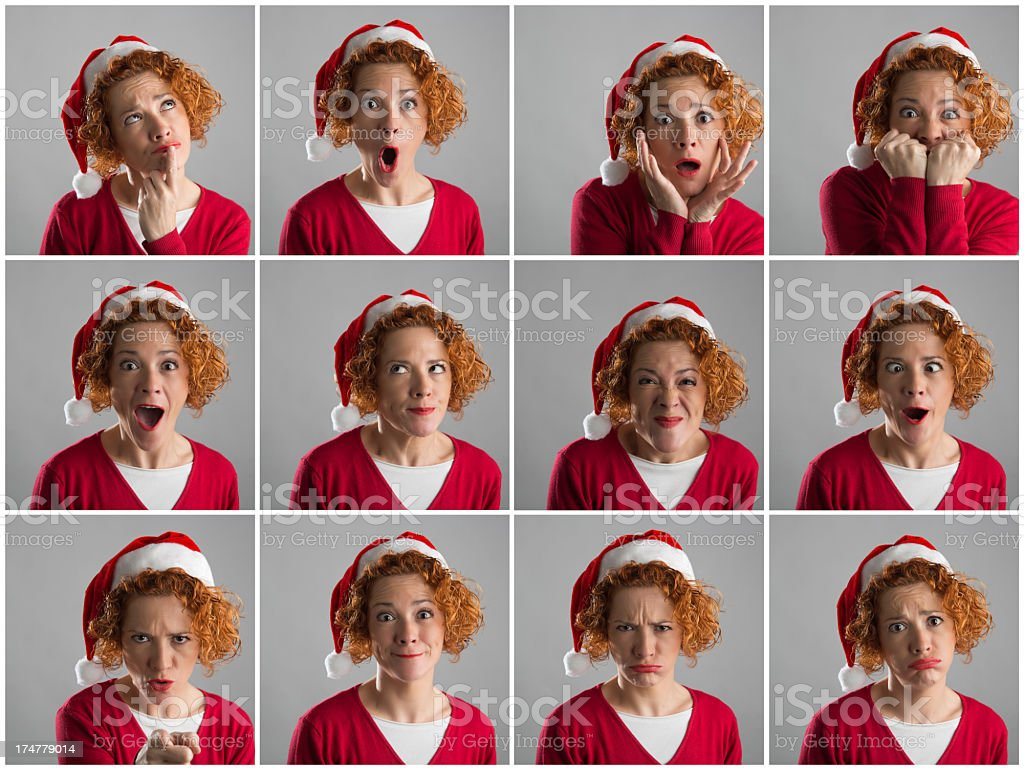 Woman multiple expressions royalty-free stock photo