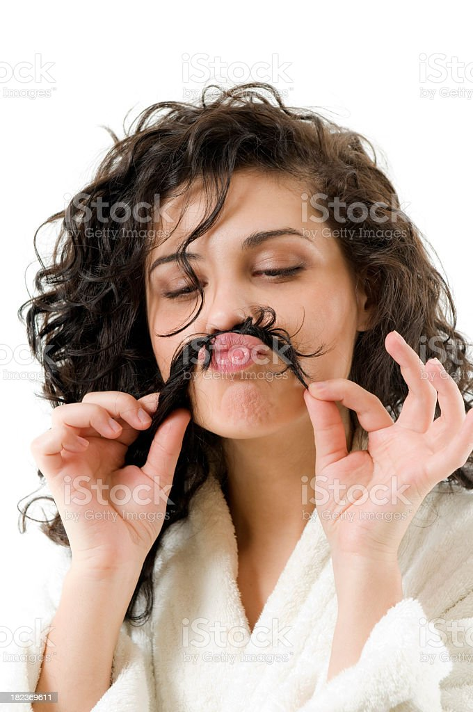 Woman mustache royalty-free stock photo