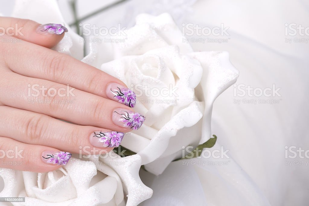 woman nails and flower royalty-free stock photo