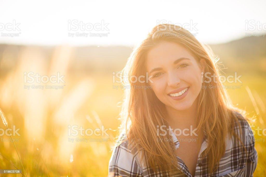 Woman nature portrait stock photo