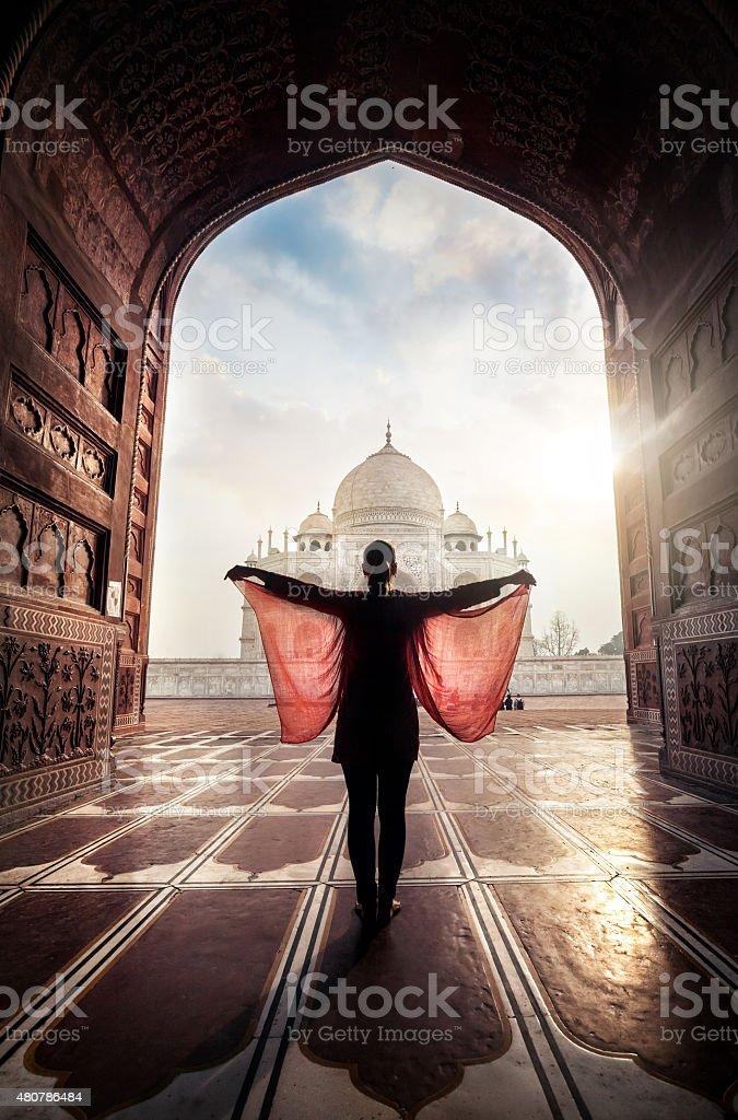 Woman near Taj Mahal stock photo