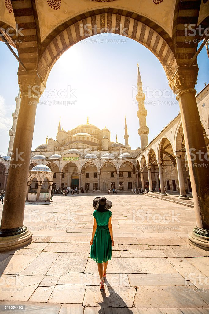 Woman near the Blue Mosque in Istanbul stock photo
