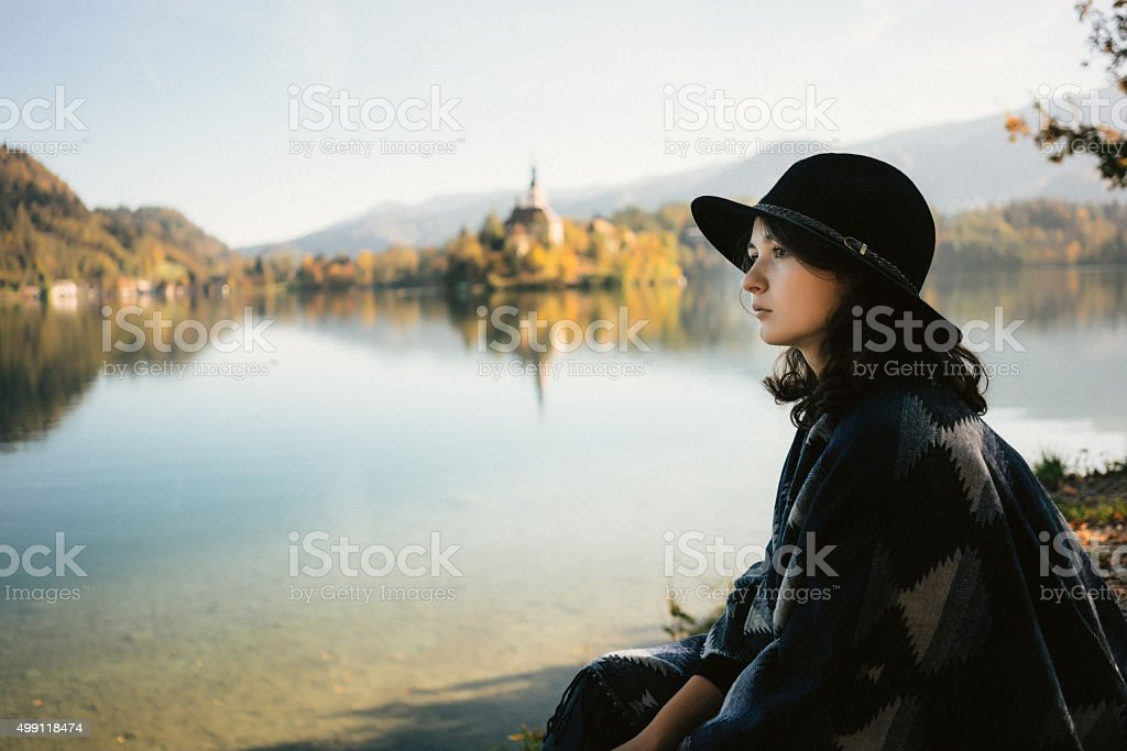 Woman near the lake stock photo