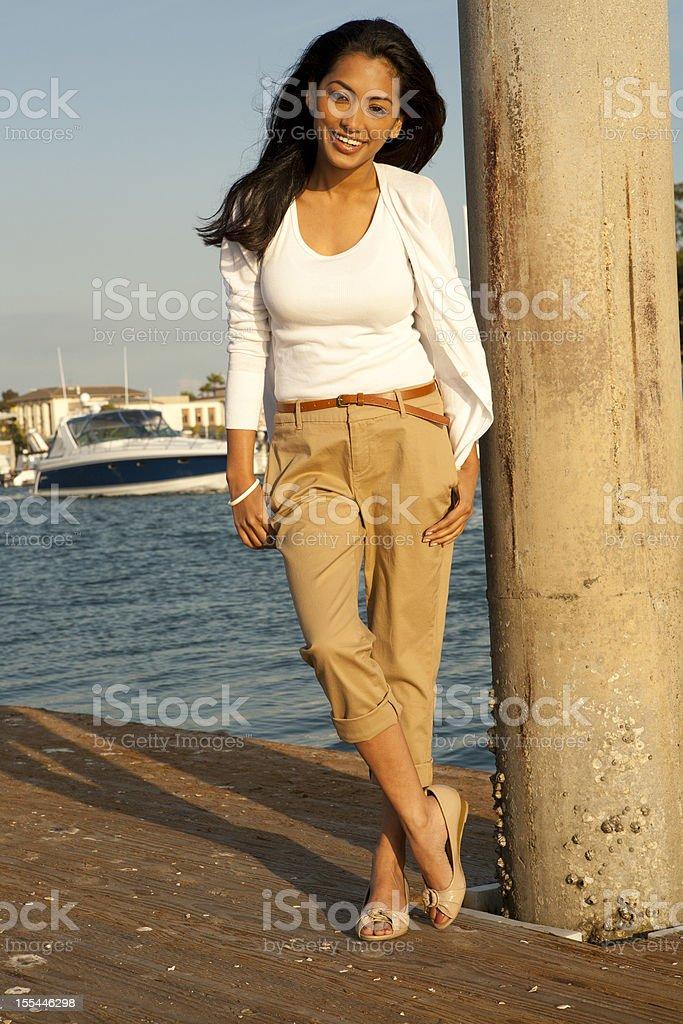 Woman near the Shore stock photo