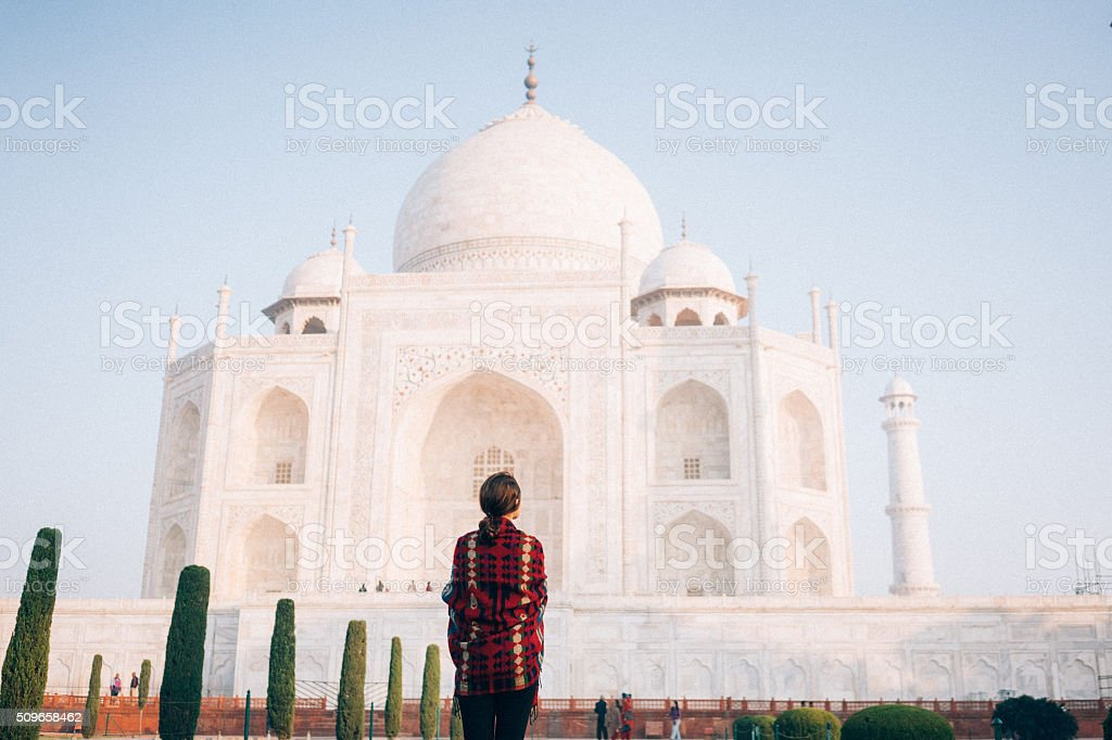 Woman near the Taj Mahal stock photo