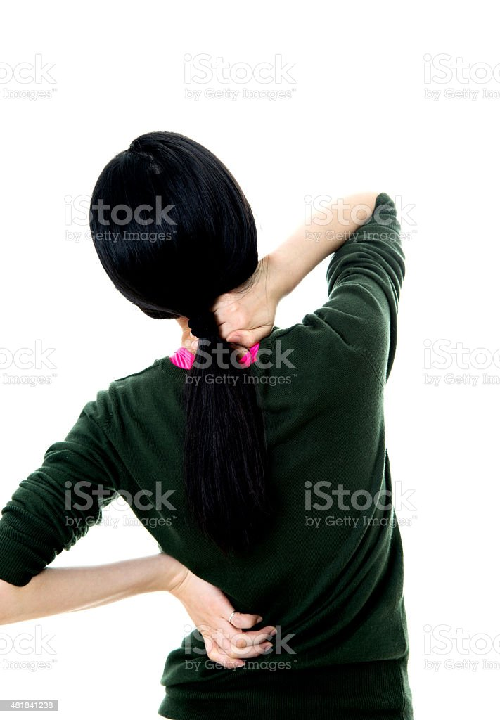 Woman neck pain stock photo
