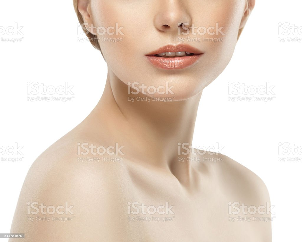 Woman neck shoulder lips nose chin cheeks stock photo