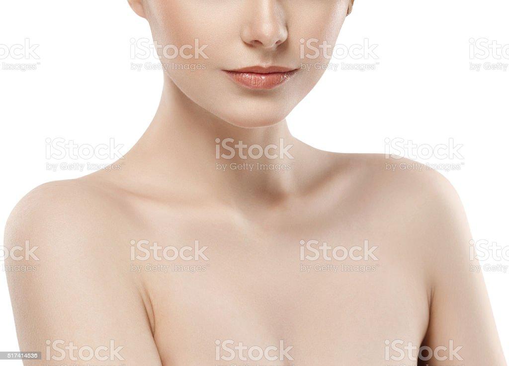 Woman neck shoulder lips nose chin cheeks stock photo