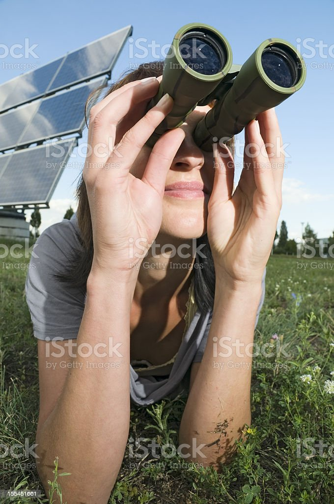 woman observe on the grass stock photo