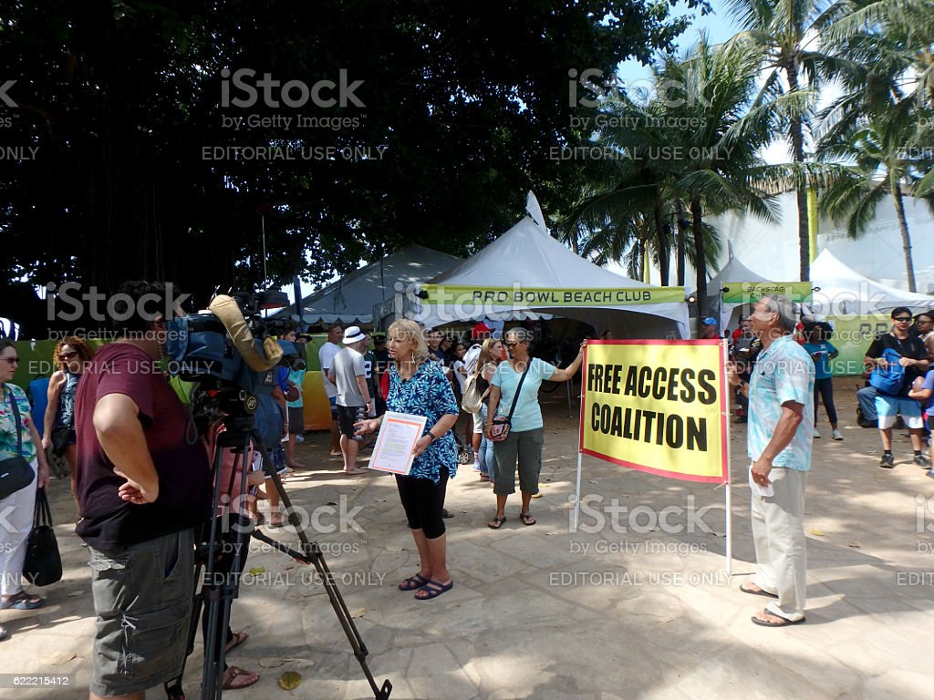 Woman of Free Access Coalition protest Pro Bowl stock photo