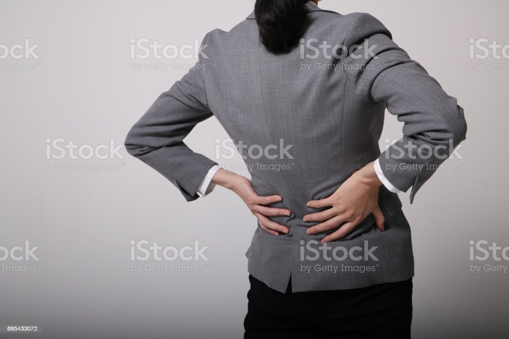 woman of low back pain stock photo