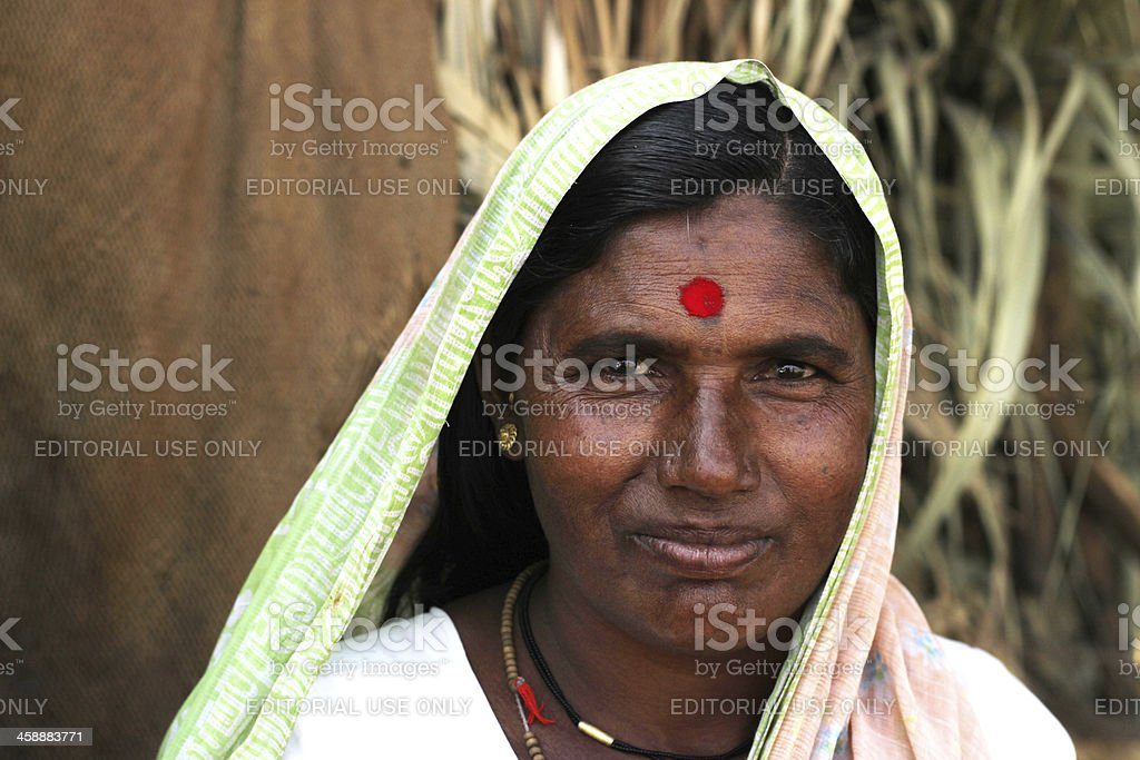 Woman of rural Maharashtra. stock photo