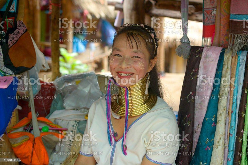 Woman of the Karen tribe stock photo