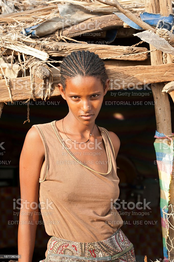 Woman of the Tigray-Tigrinya ethnic group, Danakil Desert, Ethiopia stock photo