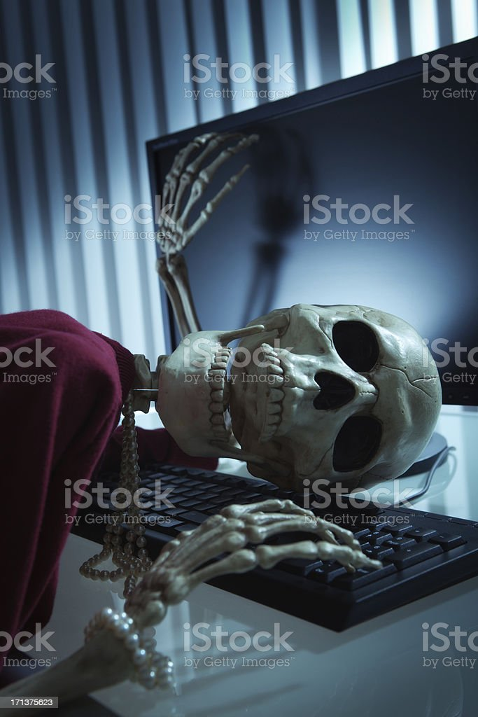 Woman Office Worker Worked to Death in Her Desk royalty-free stock photo