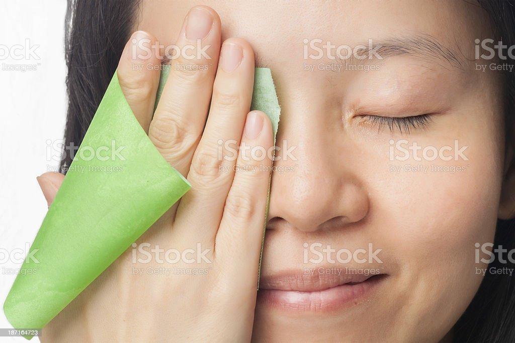 Woman oily skin stock photo
