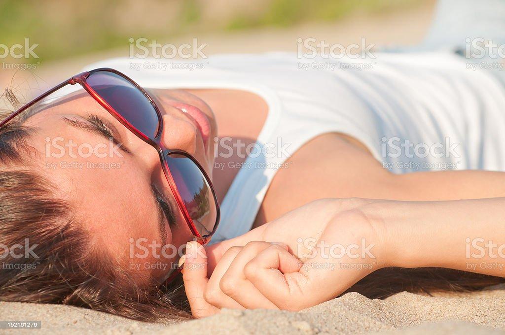 Woman on a beach stock photo
