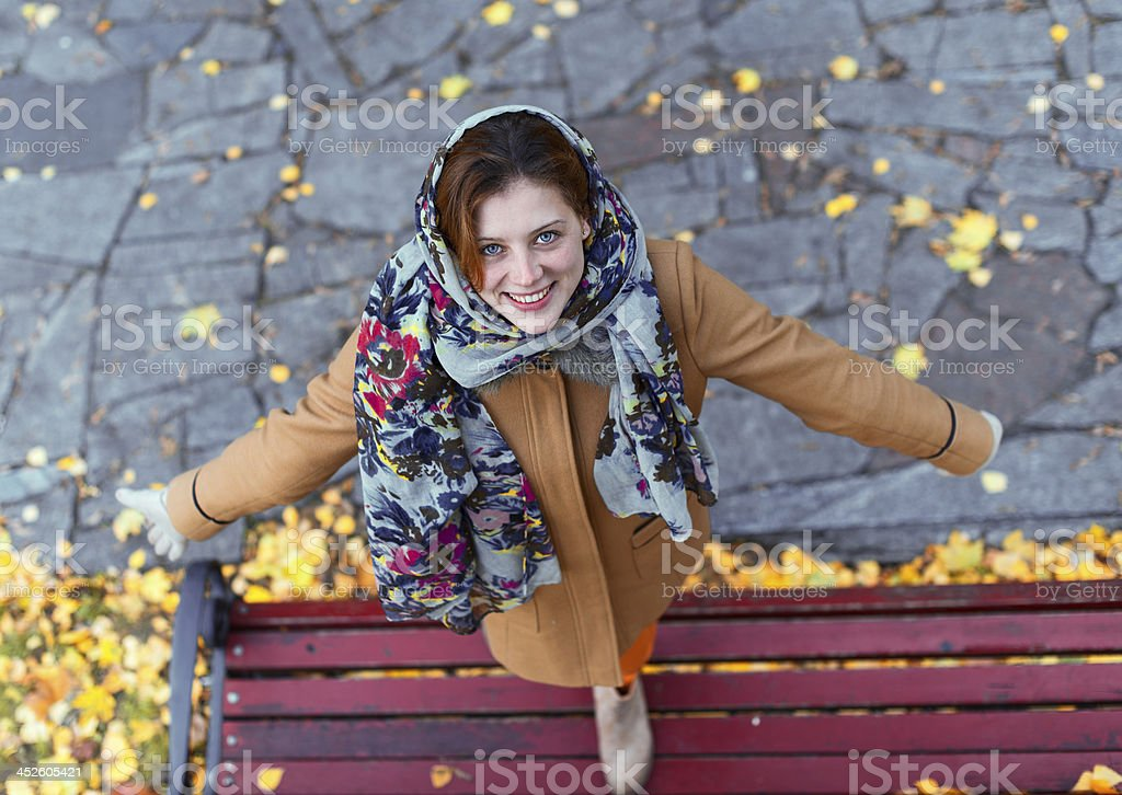 Woman on a bench royalty-free stock photo