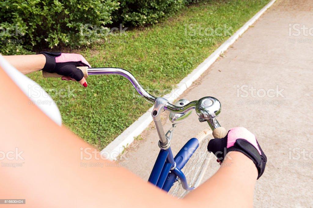 Woman on a bike stock photo