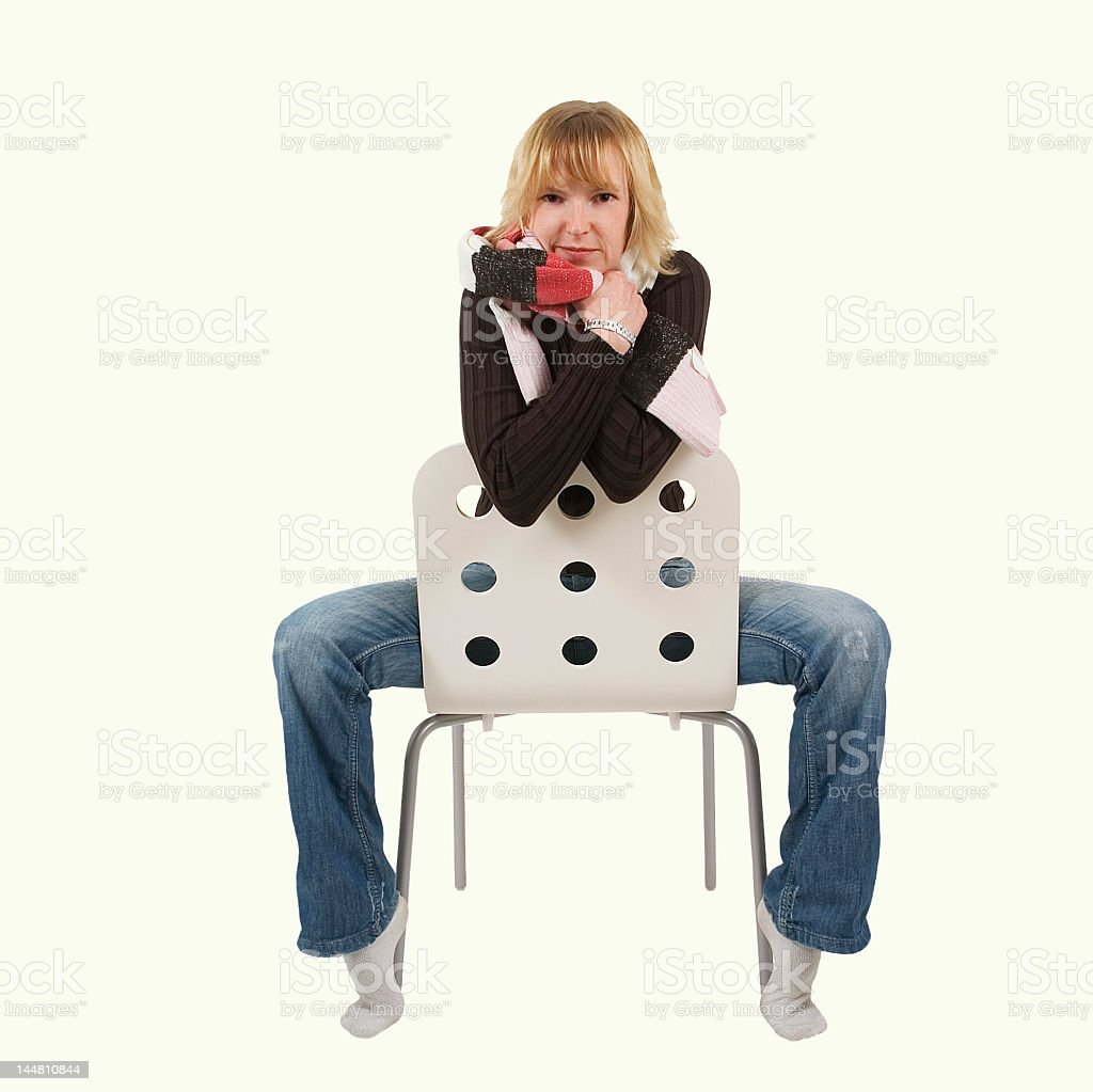 woman on a chair 1 stock photo