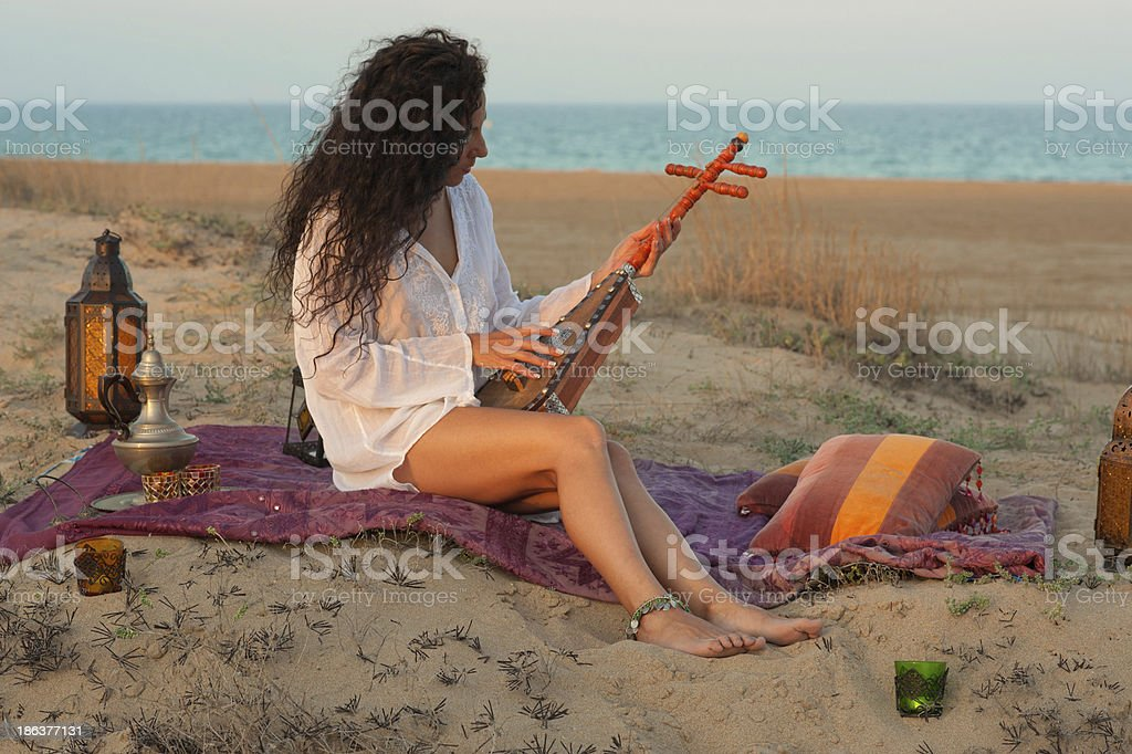 Woman on a dune royalty-free stock photo