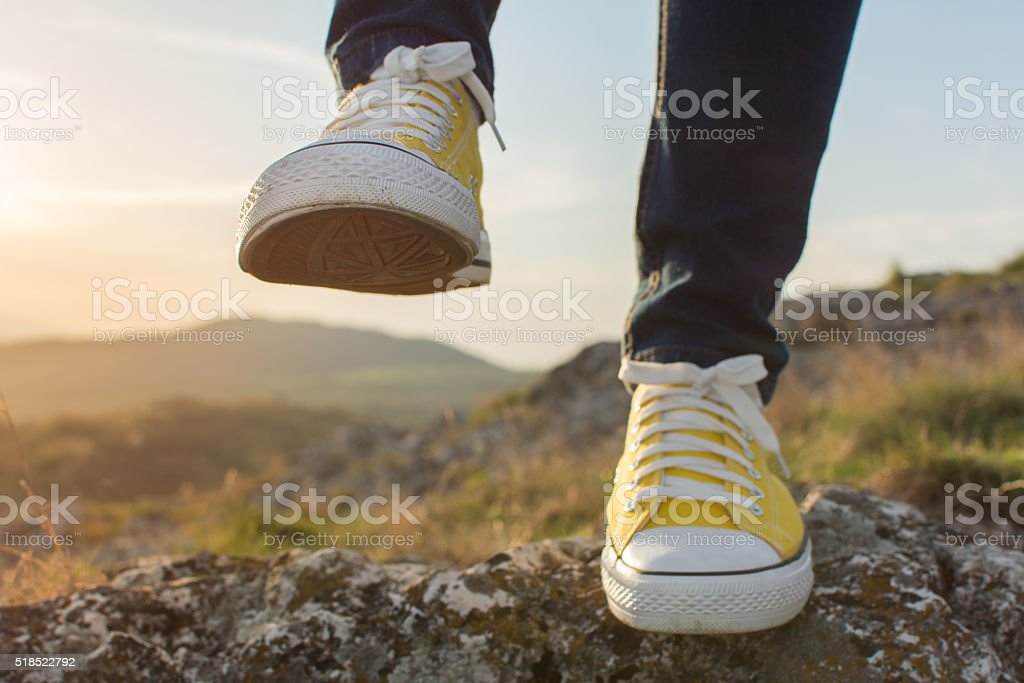 Woman on a hiking trip close up stock photo