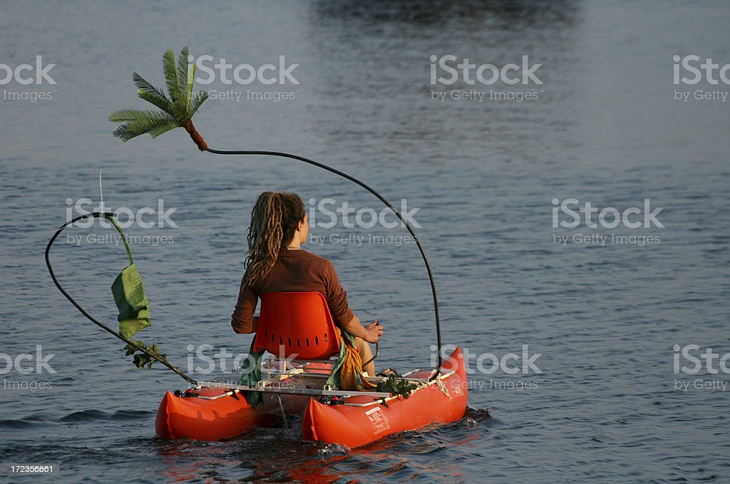 Woman on a Pedal Boat royalty-free stock photo